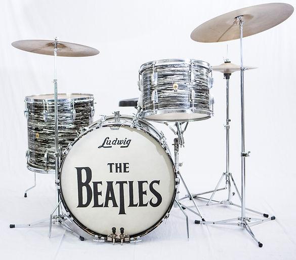 Ringo Starr's1964 Ludwig oyster black pearl Super Classic Model Beatles drum kit. Historian lecturer Gary Astridge
