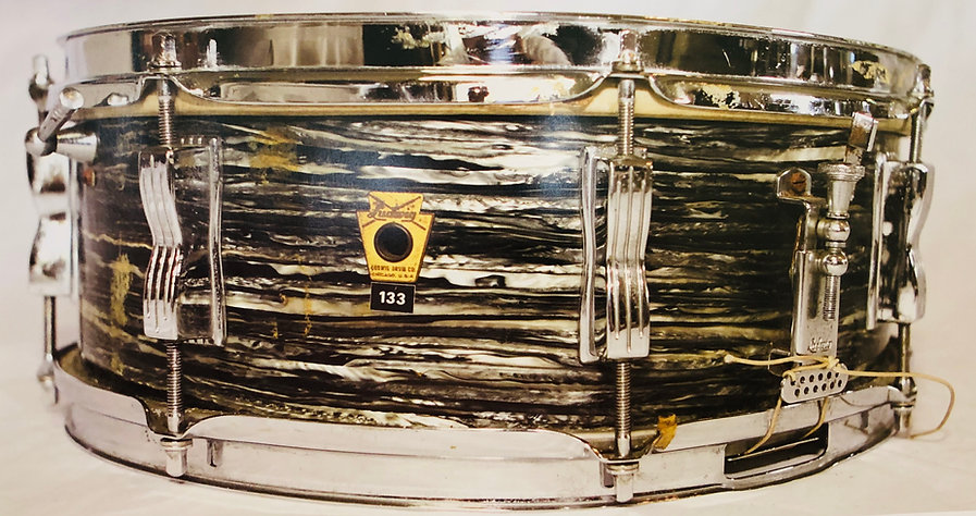 Ringo Starr's 1963 Ludwig oyster black pearl Jazz Festival snare drum. Gary Astridge historian, lecturer, curator