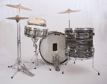 Ringo Starr's  Shea Stadium 1965 Ludwig oyster black pearl Super Classic model Beatles drum kit. (top back view). Historian lecturer Gary Astridge
