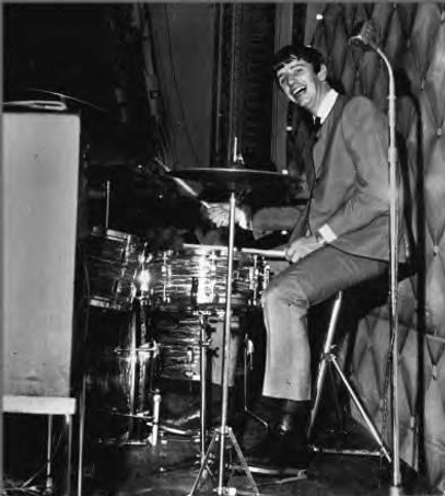 Ringo Starr playing his 1963 Ludwig Downbeat drum kit. Historian Lecturer Gary Astridge