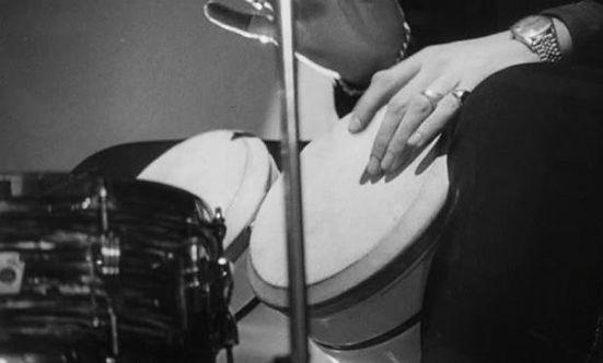 Ringo playing his Ludwig Expando bongos. Gary Astridge historian lecturer curator