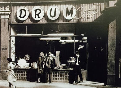 Drum City Store Front. Historian Gary Astridge