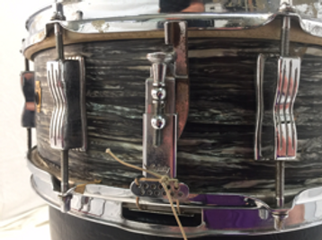Ringo Starr's 1963 Ludwig oyster black pearl Jazz Festival snare drum P-83 strainer. Gary Astridge historian, lecturer, curator