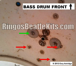 Ringo Starr's 1964 Ludwig Downbeat drum kit's Rogers swivomatic bass drum inside view of mount. Gary Astridge historian, lecturer, curator