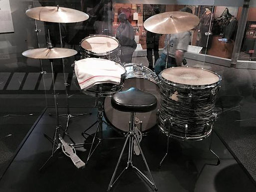 Ringo Starr's  1964 Ludwig oyster black pearl Super Classic model Beatles drum kit at the RnRHoF. Historian lecturer Gary Astridge