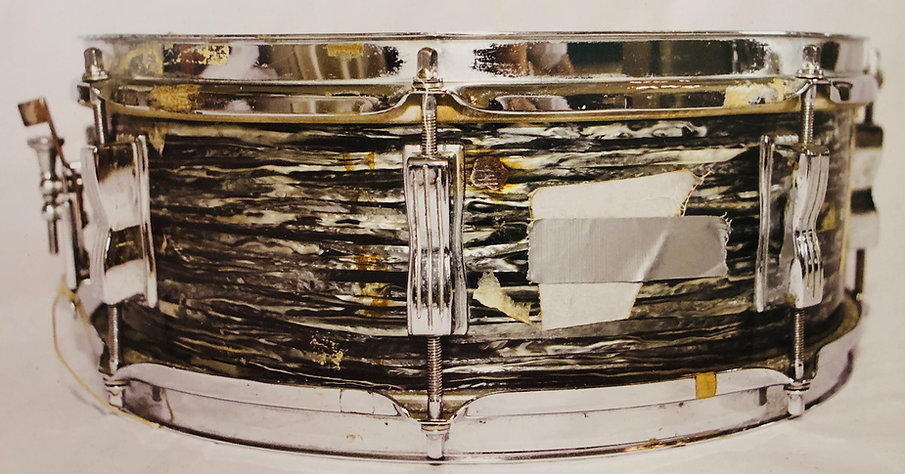 Ringo Starr's 1963 Ludwig oyster black pearl Jazz Festival snare drum cigarette burn mark. Gary Astridge historian, lecturer, curator