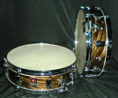 1960 Premier Mahogany Duroplastic Royal Ace snare drums. Historian Gary Astridge