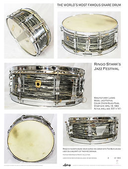 The World's Most Famous Snare Drum poster. Ringo Starr's 1963 Ludwig oyster black pearl Jazz Festival snare drum. Gary Astridge historian, lecturer, curator