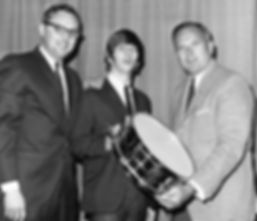 Dick Schory, Ringo Starr, Bill Ludwig II - 1964 Gold plated Ludwig Super Sensitive snare drum. Historian Lecturer Gary Astridge