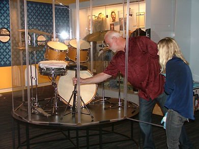 Gary Astridge setting up Ringo Starr's 1967 Ludwig Hollywood drum kit at the LA Grammy Museum. Ringo: Peace & Love