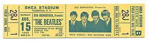 Beatles August 15, 1965 Shea Stadium concert ticket