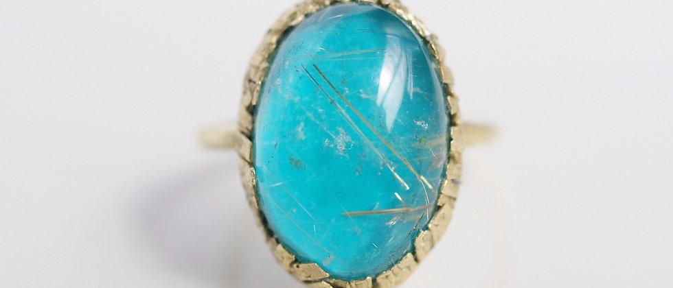 Rutile Quartz×Turquoise Ring