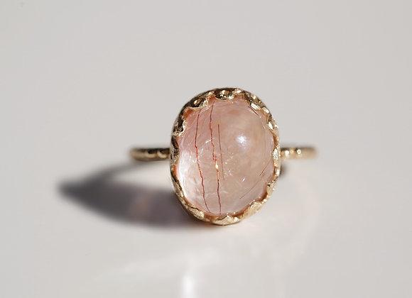 Rutile Quartz×Pink Opal Ring