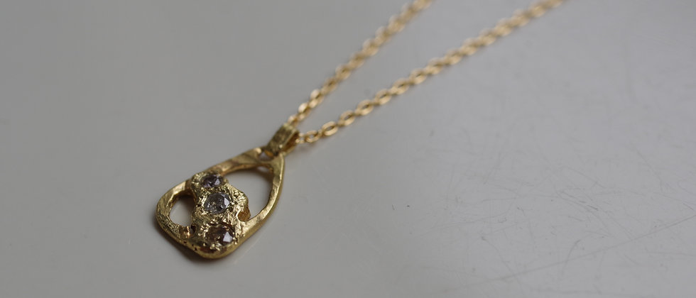 Water Crescent Moon Necklace / Three Wishes Diamonds