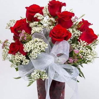 Ecuadorian long stem roses arranged with fillers
