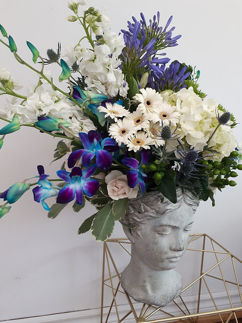 White and blue Greek Goddess head