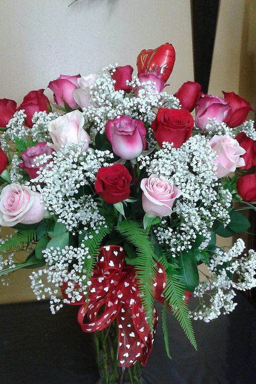 Two dozen roses arranged