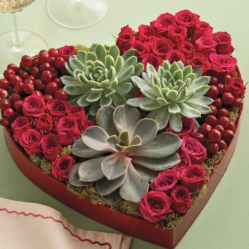Heart box with flowers