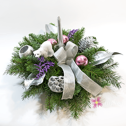 Silver and pink winter arrangement