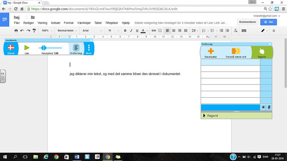 Redigering i Google Docs med IntoWords på computer.