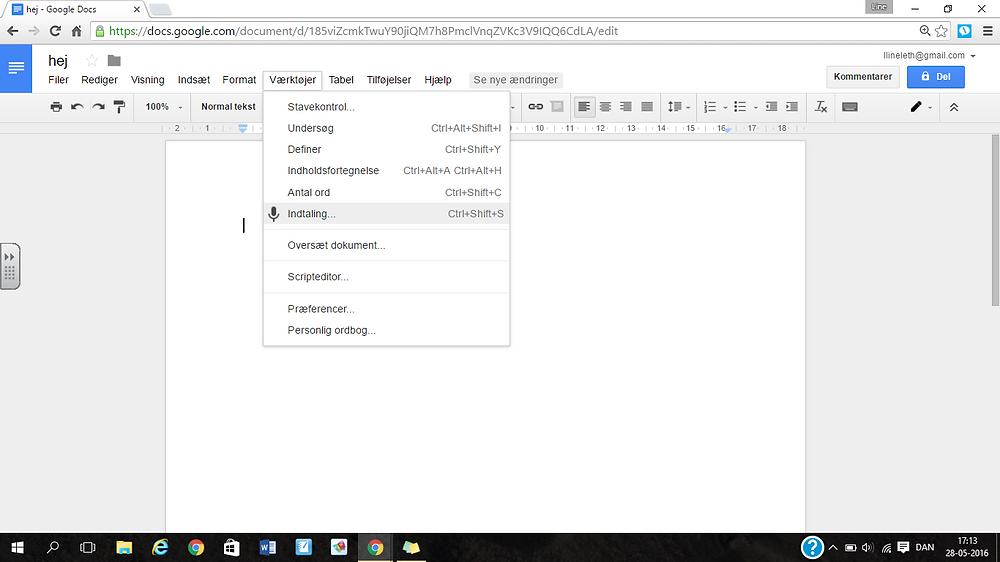 Diktering direkte i Google Docs på computer.