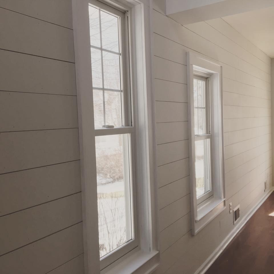 Shiplap walls and window trim
