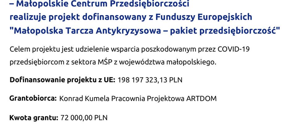 Informacja o otrzymanym wsparciu w ramach Małopolskiej Tarczy Antykryzysowej