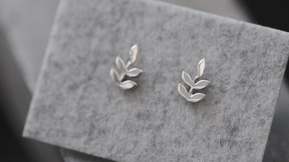 oorbellen - zilver - blad