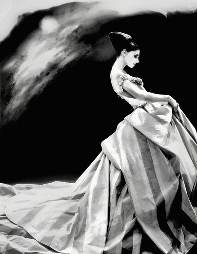 """Lillian Bassman """"Night Bloom, Anneliese Seubert, ball gown by John Galliano for Haute Couture Givenchy, Paris, The New York Times Magazine"""""""