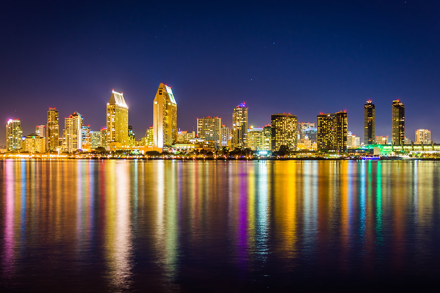 The San Diego skyline at night, seen fro