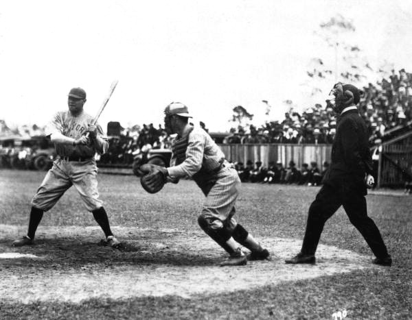Babe Ruth in spring training game in Miami, Florida, March 1920