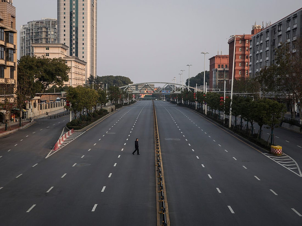 Empty street in Wuhan