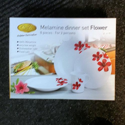 Melamine Set Camp 4 Flower 8 piece for 2