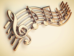 Golden music notes and treble clef on musical strings isolated on white. 3d illustration_edited