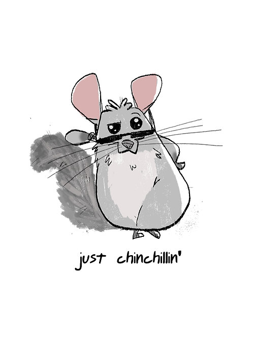 """Just Chinchillin"" greeting card"