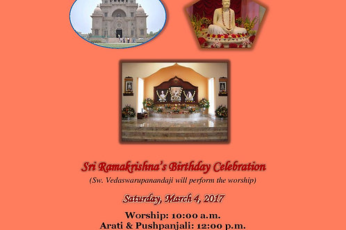 Brochure Published on Birthday Celebration of Sri Ramakrishna in 2017