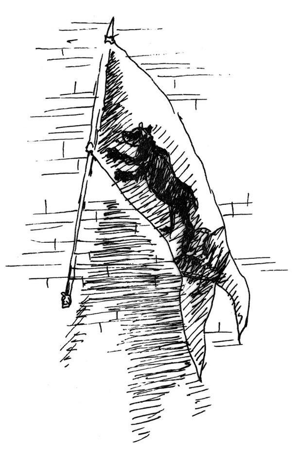 Banner der Familie von Bärenfels. Illustration by I.L. Krauß
