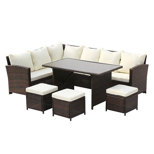 9 Seat Rattan Garden Set