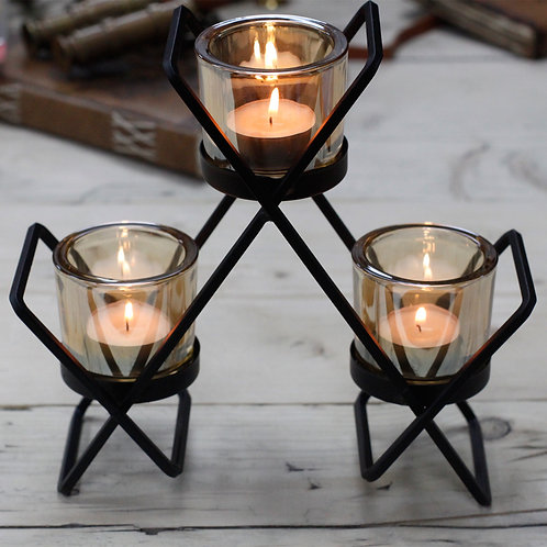 Black Iron Tea Light Candle Holder - 3 Cup Triangle
