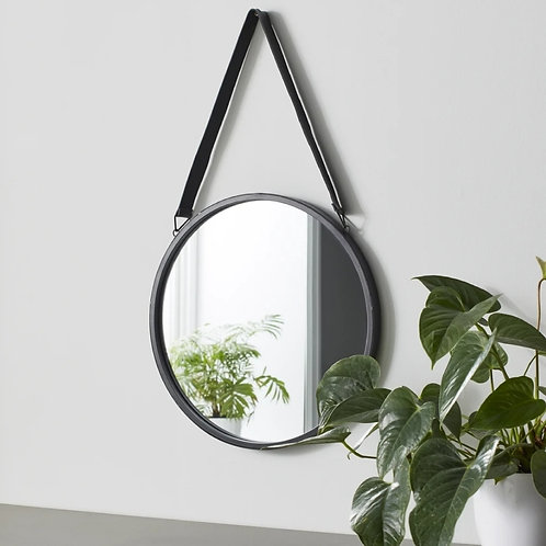 Round Wall Mirror with Leather Strap