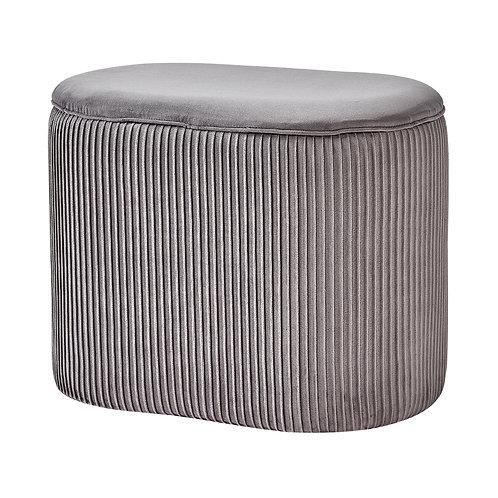 Grey Velvet Oval Storage footstool