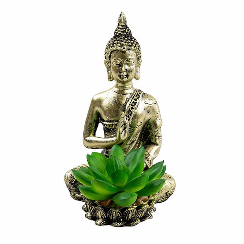 Gold Sitting Buddha with Artificial Succulent