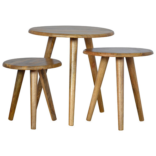 Solid Wood Nordic Style Nesting Stools