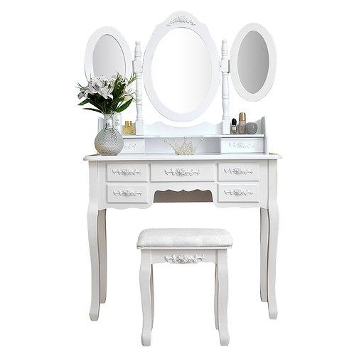 White Dressing Table, Stool & Mirror