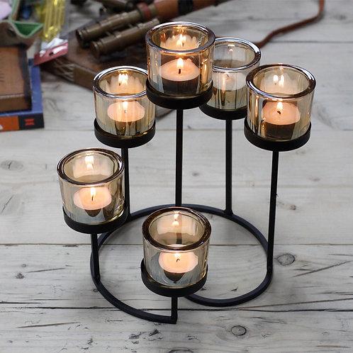Black Iron Tea Light Candle Holder - 6 Cup Tree