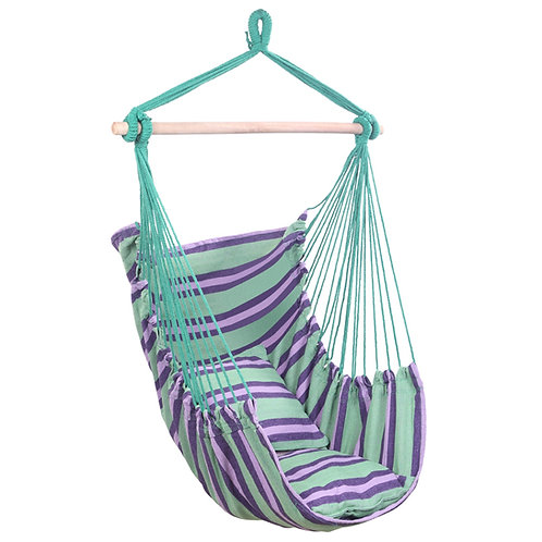 Green Stripe Cotton Canvas Hanging Rope Chair