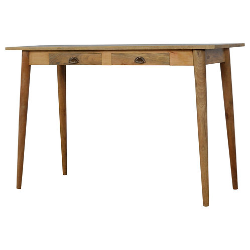 Nordic Style Solid Wood Writing Desk with 2 Drawers