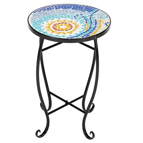 Round Mosaic Bistro Table - Blue Hawaiian