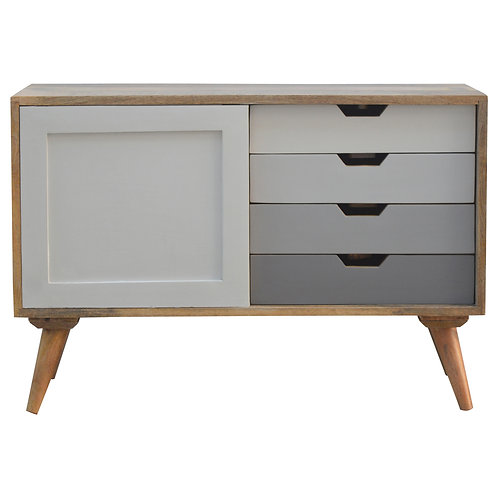Solid Wood 4 Drawer Cabinet with Sliding Door