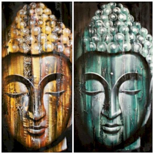 Bali Original Art Buddha Head Oil Painting